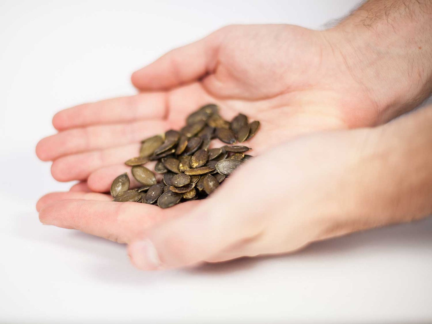 Pumpkin seeds washed, dried, and cleaned so they are shelf-stable for up to two years.