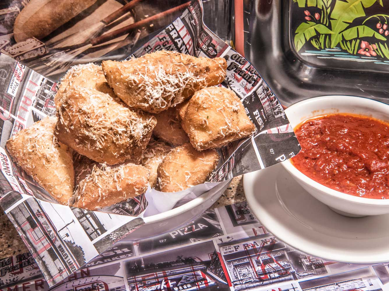 Frank's gnocco fritto with sauce.