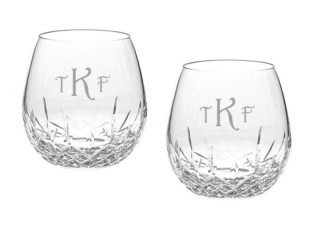 Waterford Lismore Nouveau Custom Engraved Stemless Light Red Wine Pair