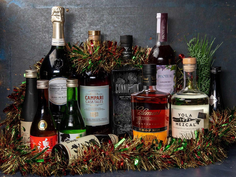 an arrangement of various liquors and spirits.