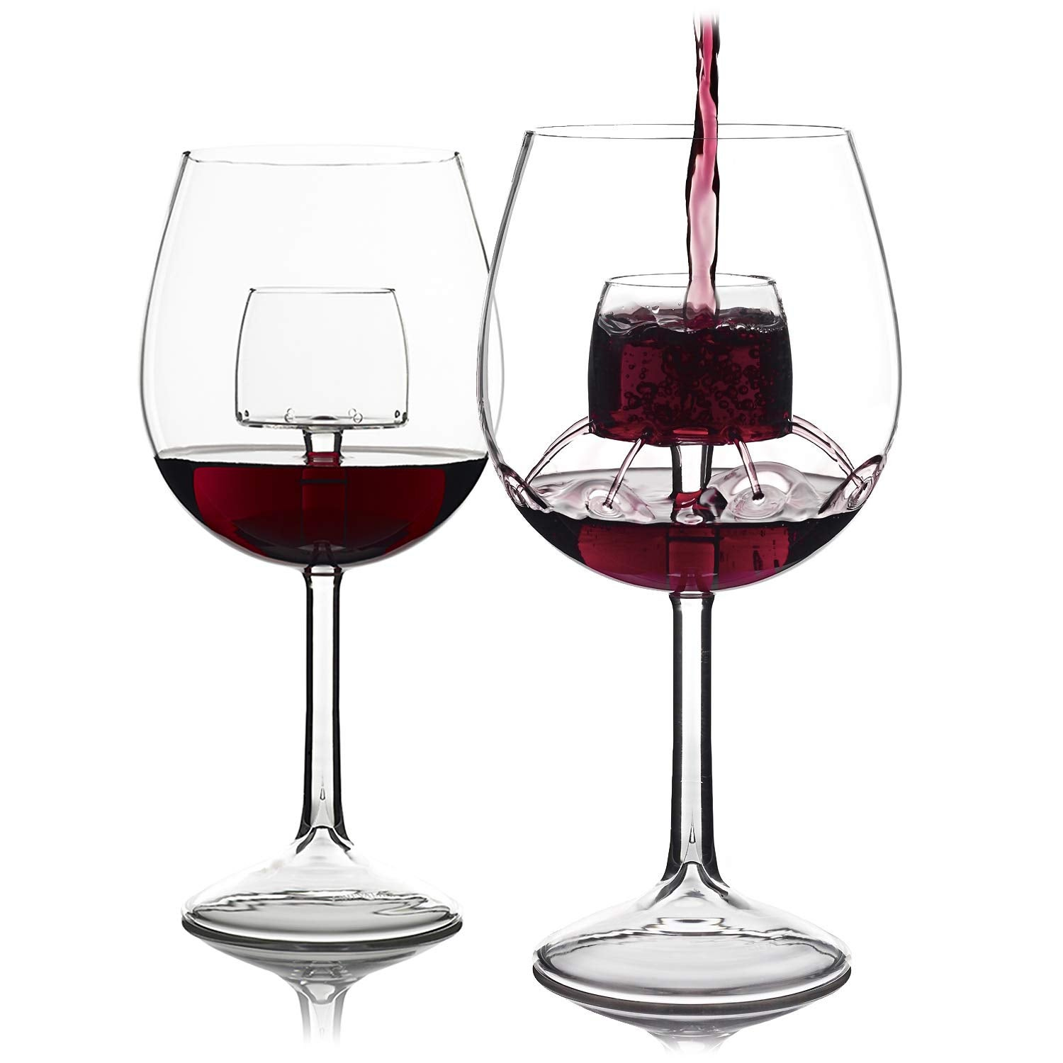 Sommelier Aerating Wine Glasses by Chevalier Collection (Set of 2) - Wine Glass With Built In Aerator