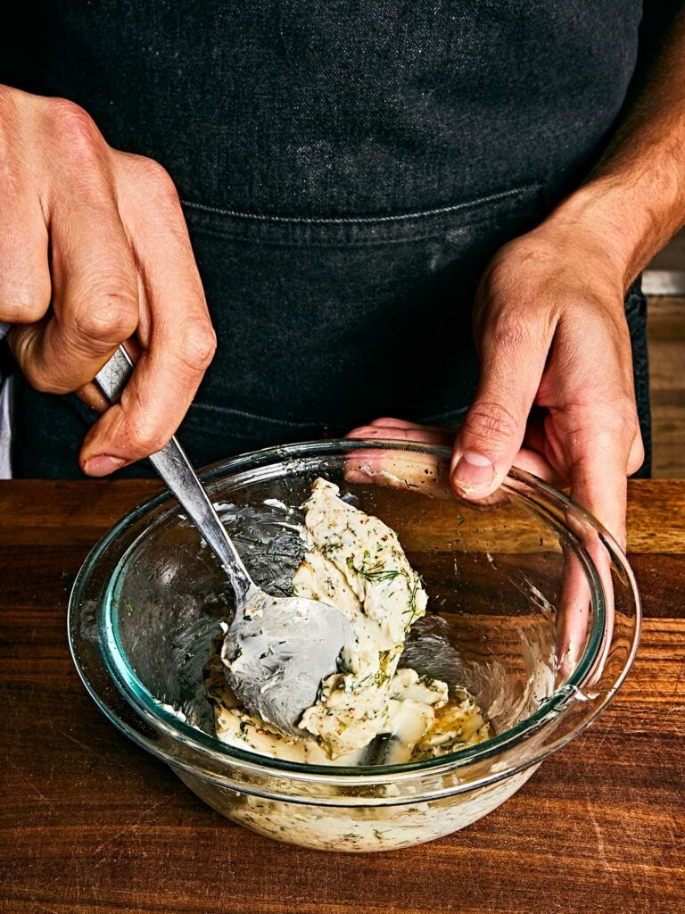 Compound butter with fresh dill and lemon juice.