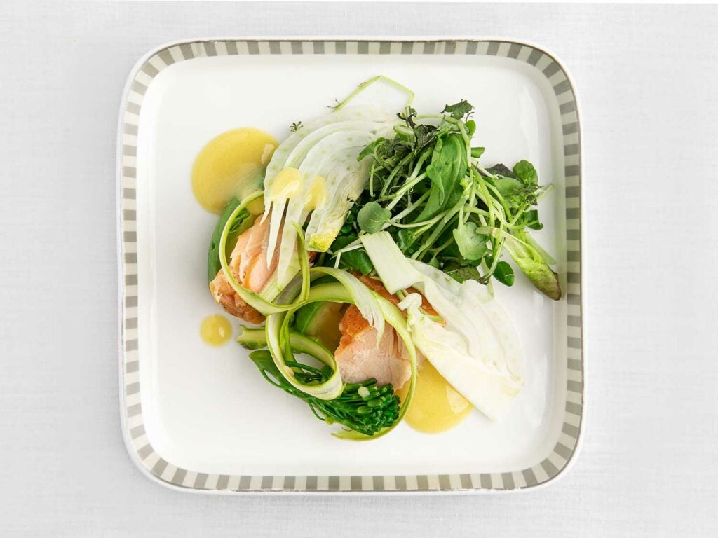 Singapore Airlines's mixed greens with smoked salmon.