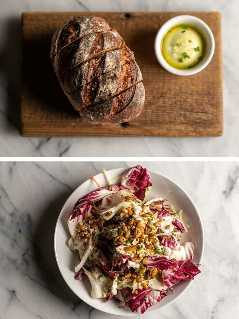 Emmer sourdough and radicchio salad with preserved lemon ranch dressing.