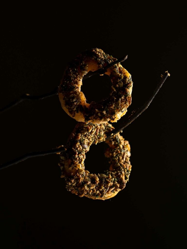 "The beer-battered squash rings were dramatically served on branches for guests to ""pick"" their own."