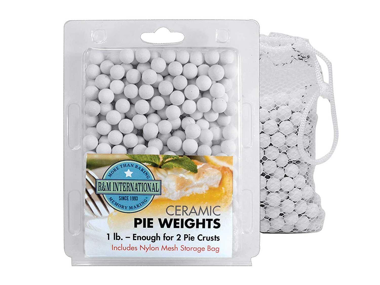 R&M International Ceramic Pie Weights, 1 lb. with Mesh Storage Bag