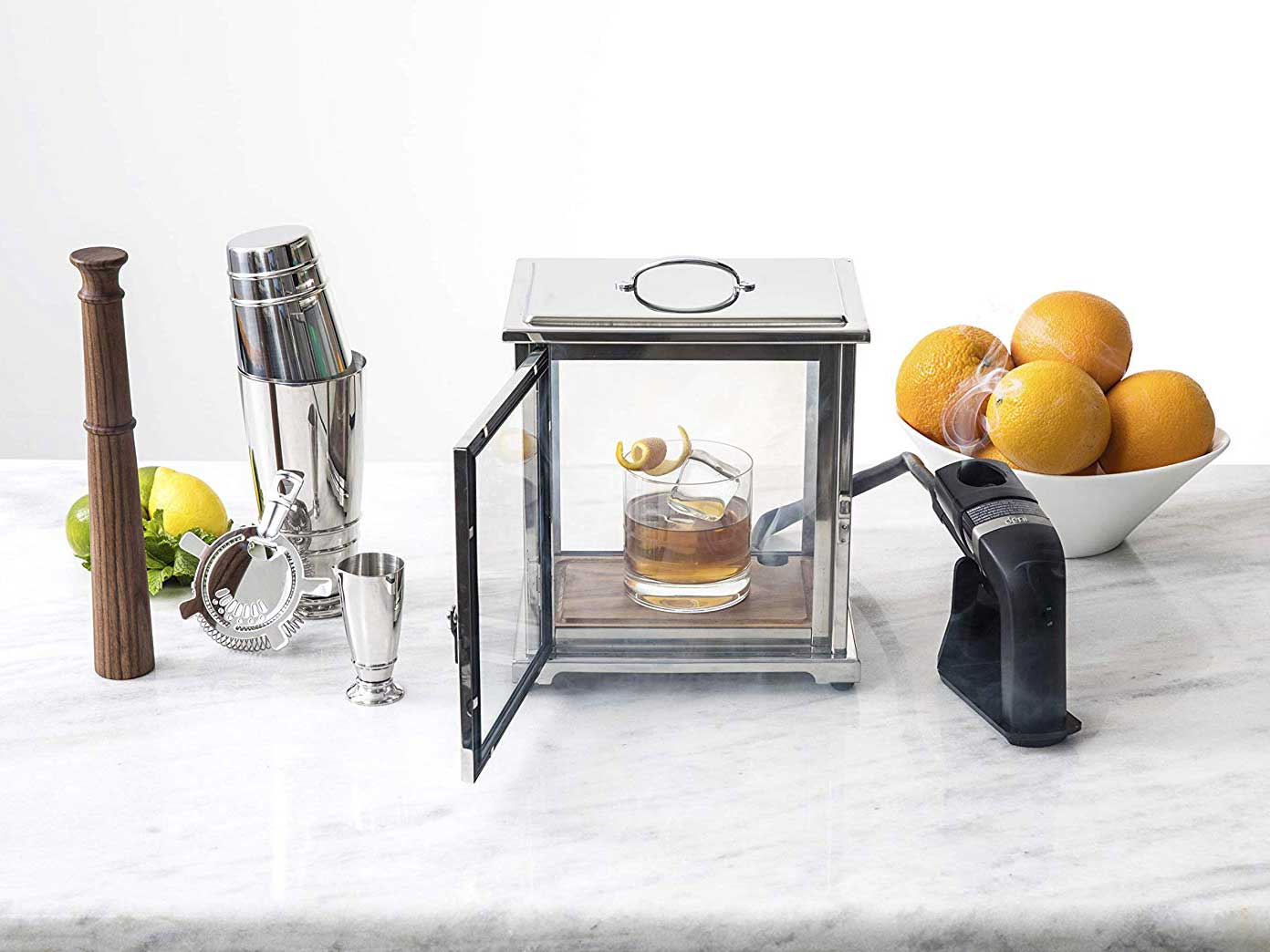 Crafthouse by Fortessa Professional Barware by Charles Joly Stainless Steel and Glass Smoking Box with Handheld Smoker for Cocktail/Beverage/Cheese/Food