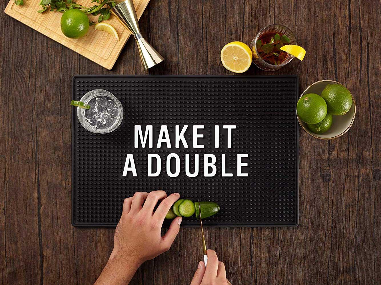 """""""Make It A Double"""" Home Bar Mat"""