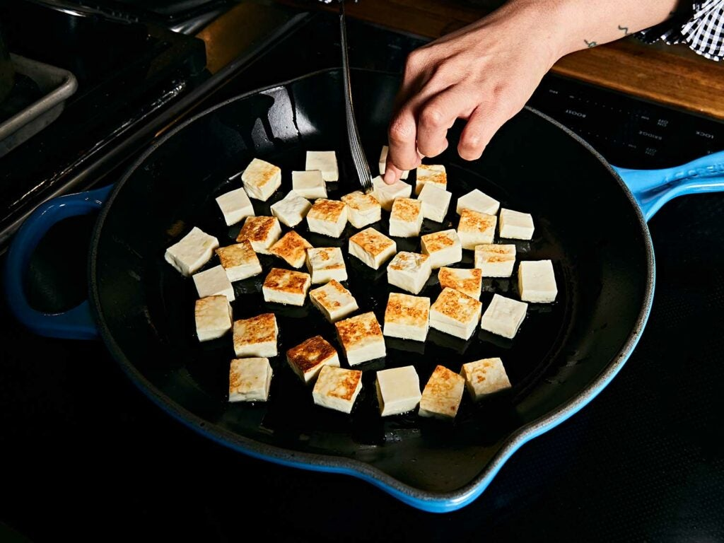 You can also use store-bought paneer, which will be much firmer, as pictured above. Either way, get your cheese nice and brown.