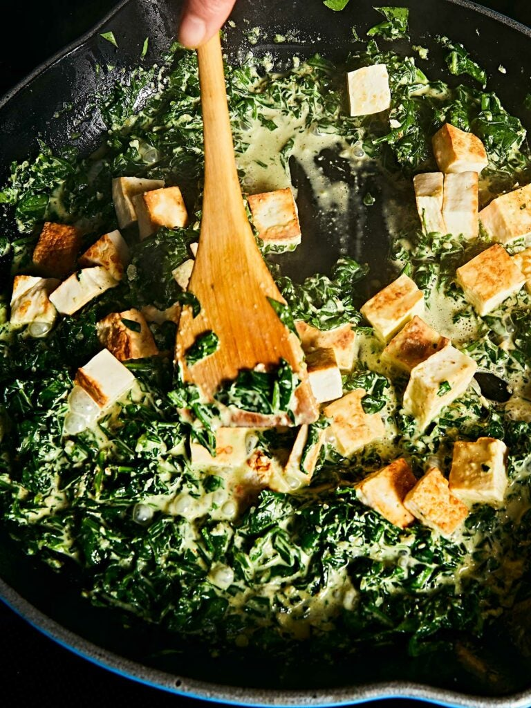 Spiced with garam masala and cayenne, creamy spinach is the ideal partner for seared paneer.