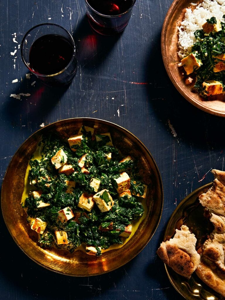 Serve saag paneer with rice, flatbread, or both.