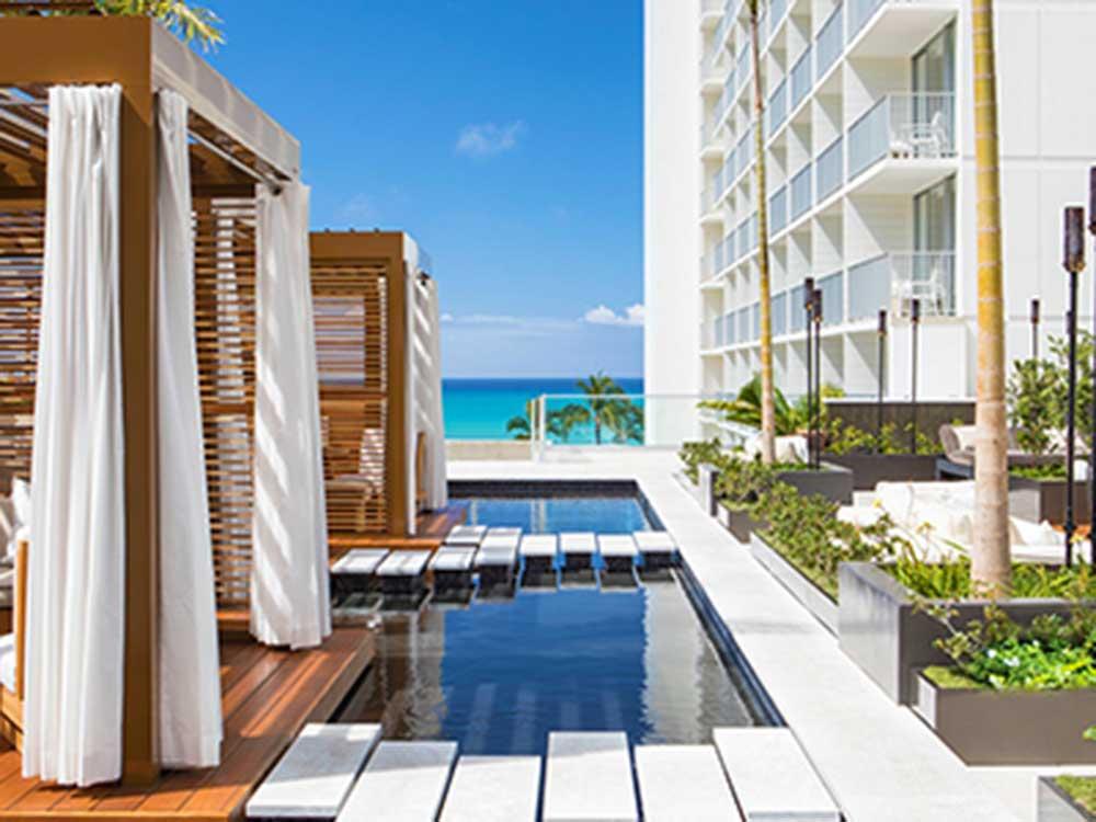 'Alohilani Resort Waikiki Beach in Honolulu, Hawaii, USA.