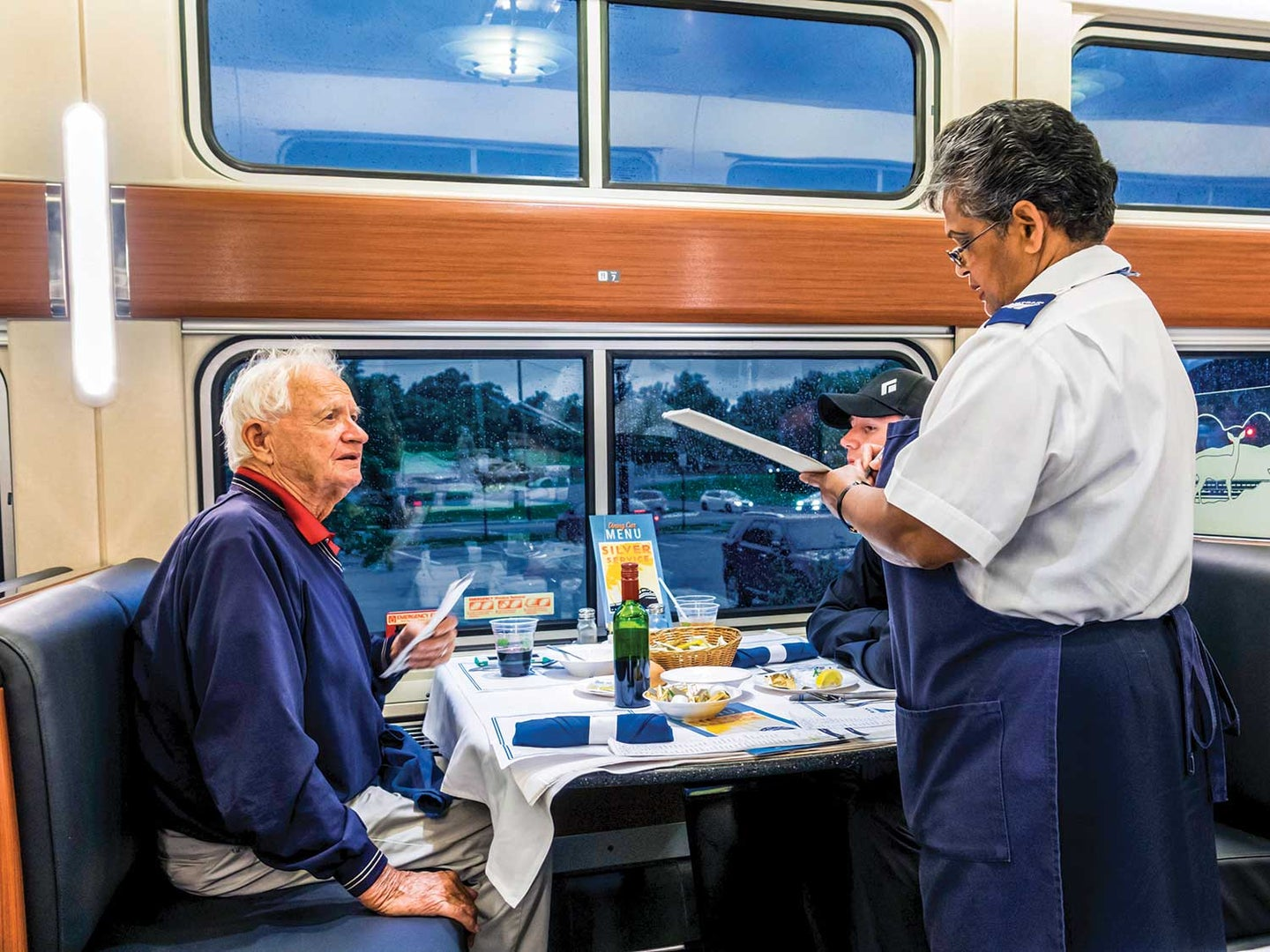 """Amtrak has replaced its traditional dining car with """"flexible"""" airline-style meals  on most of its overnight routes east of the Mississippi."""