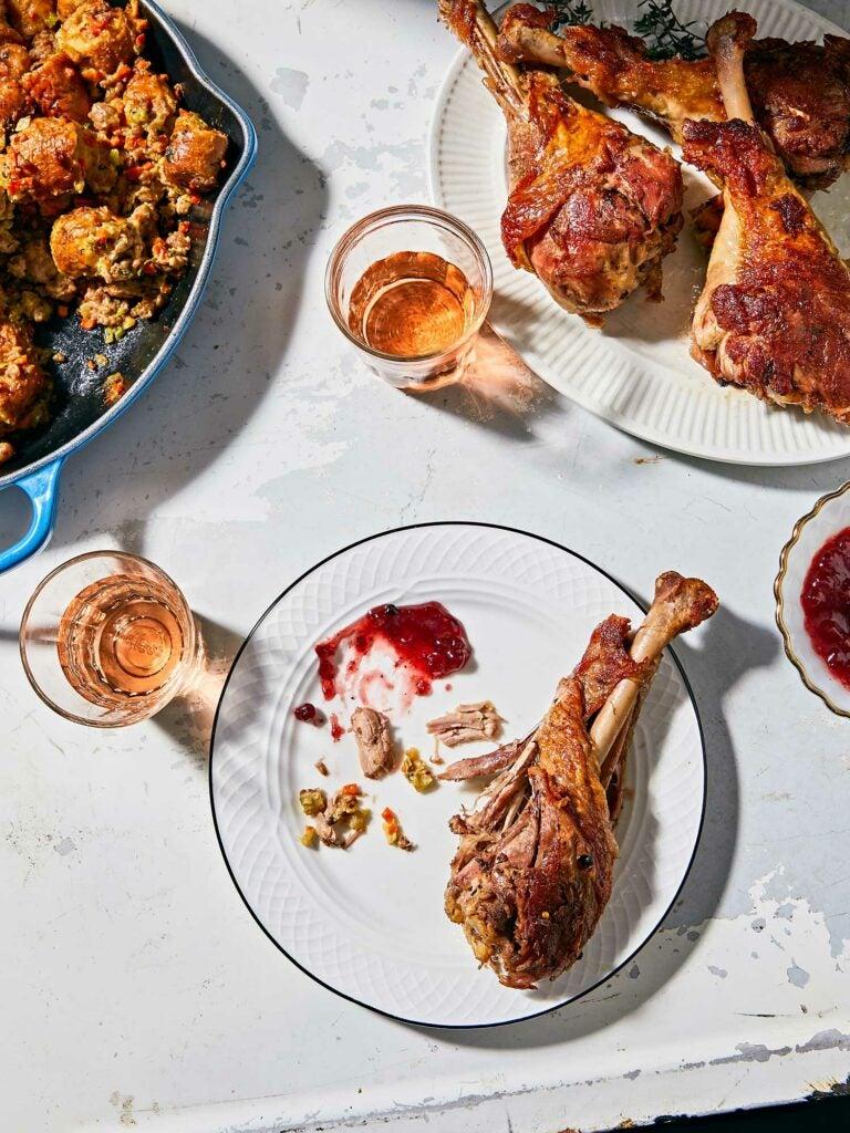 Turkey Confit and Pretzel and Sausage Dressing