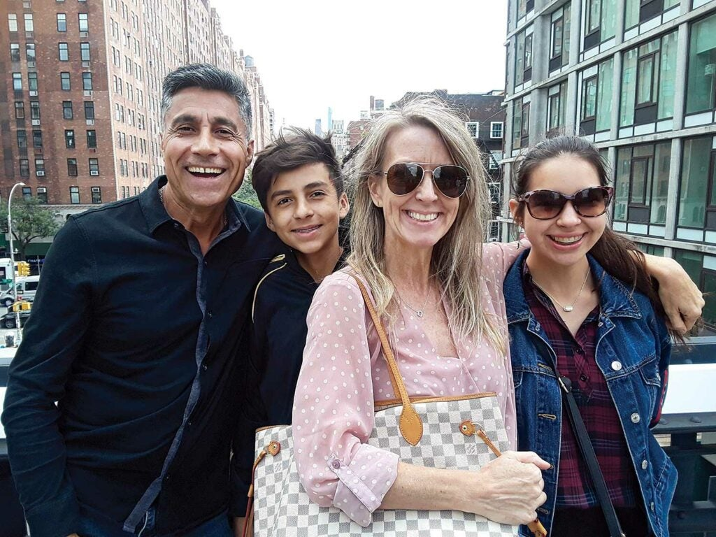 Connie McCabe with her husband, Ivan Pedreros, and their children, Max and Leila.