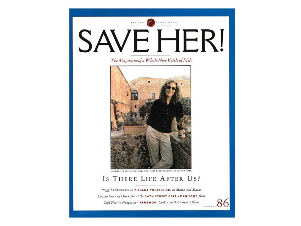 The Saveur mock cover when Kalins left the magazine, in 2001, to become the executive editor of Newsweek.