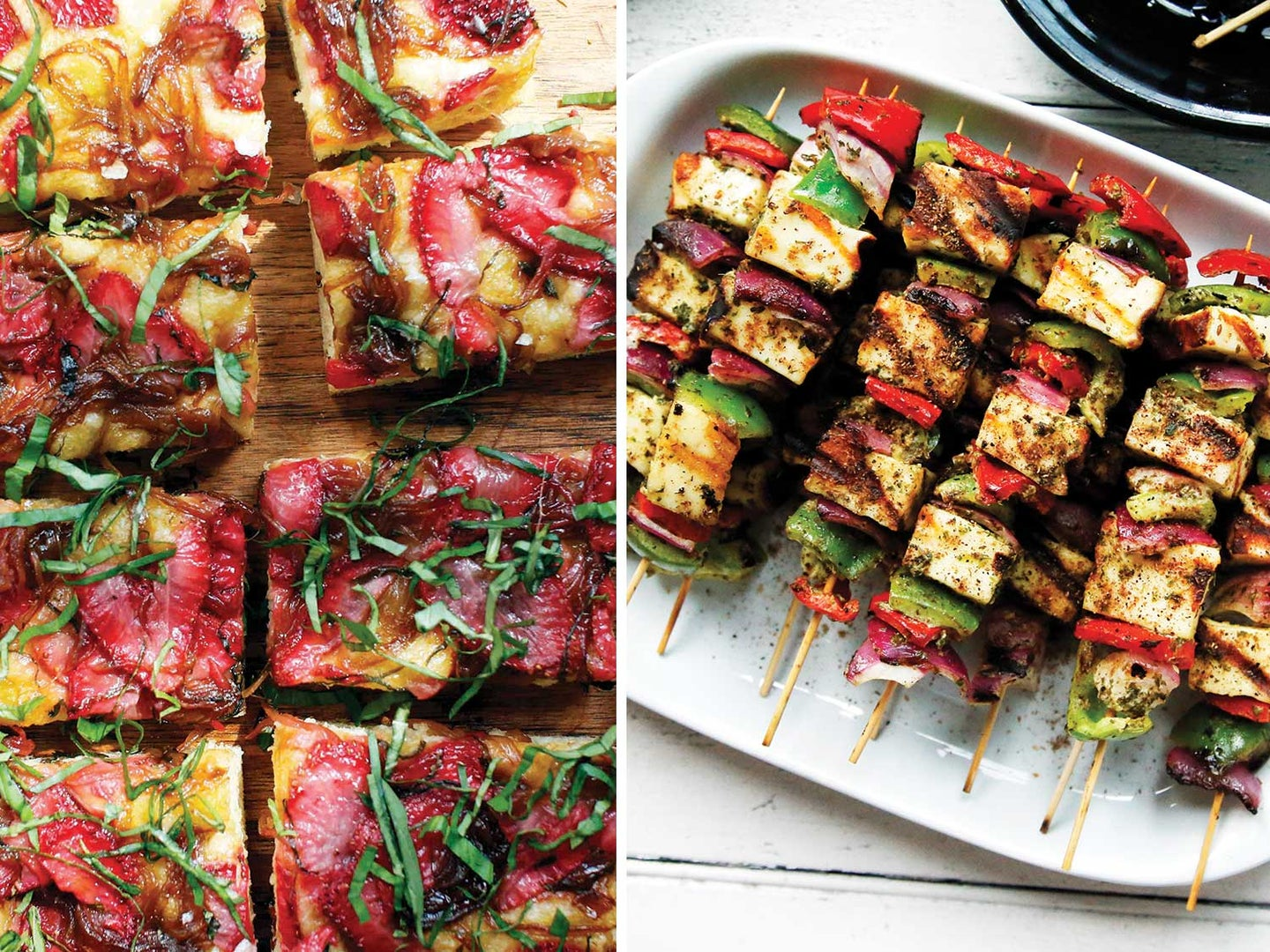 Strawberry Focaccia with Maple-Balsamic Onions and Paneer Tikka Kebabs