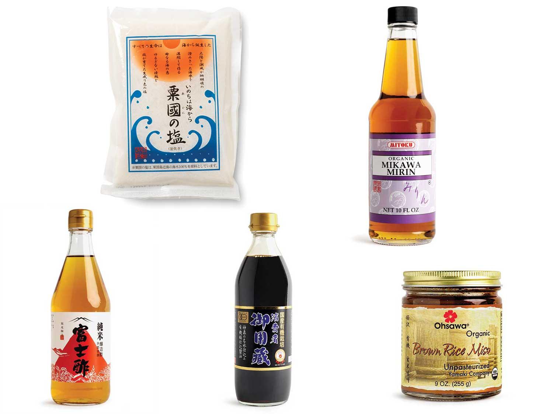 Aguni-jima Salt; Mitoku Mikawa Mirin;  Iio Jozo Rice Vinegar;  Yamaki Jozo Organic Soy Sauce; Ohsawa Yamaki Organic Brown Rice Miso.