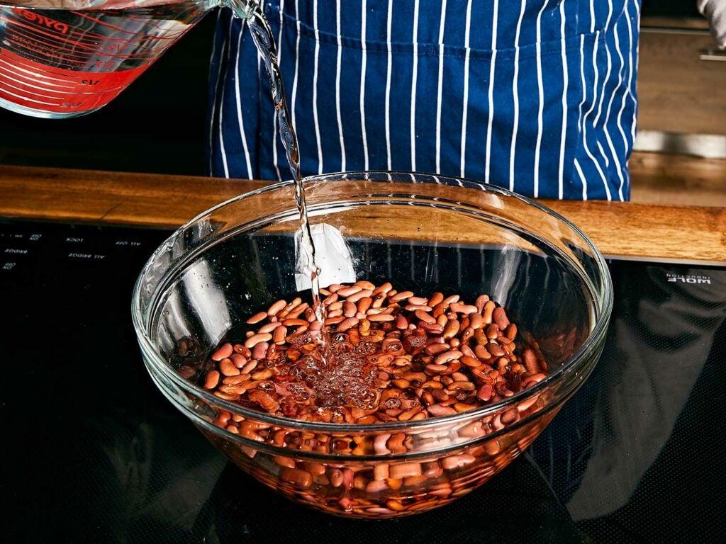 Pre-soaking beans