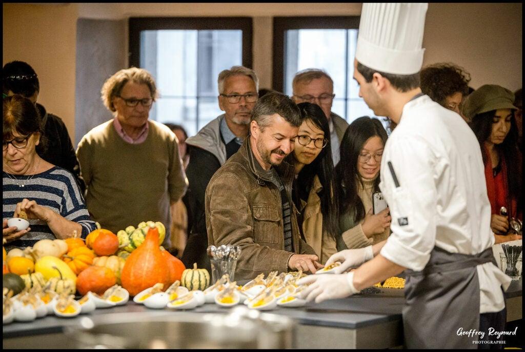 Guests experience the chef's tasting at Lyon's New 'Cité Internationale de la Gastronomie'.