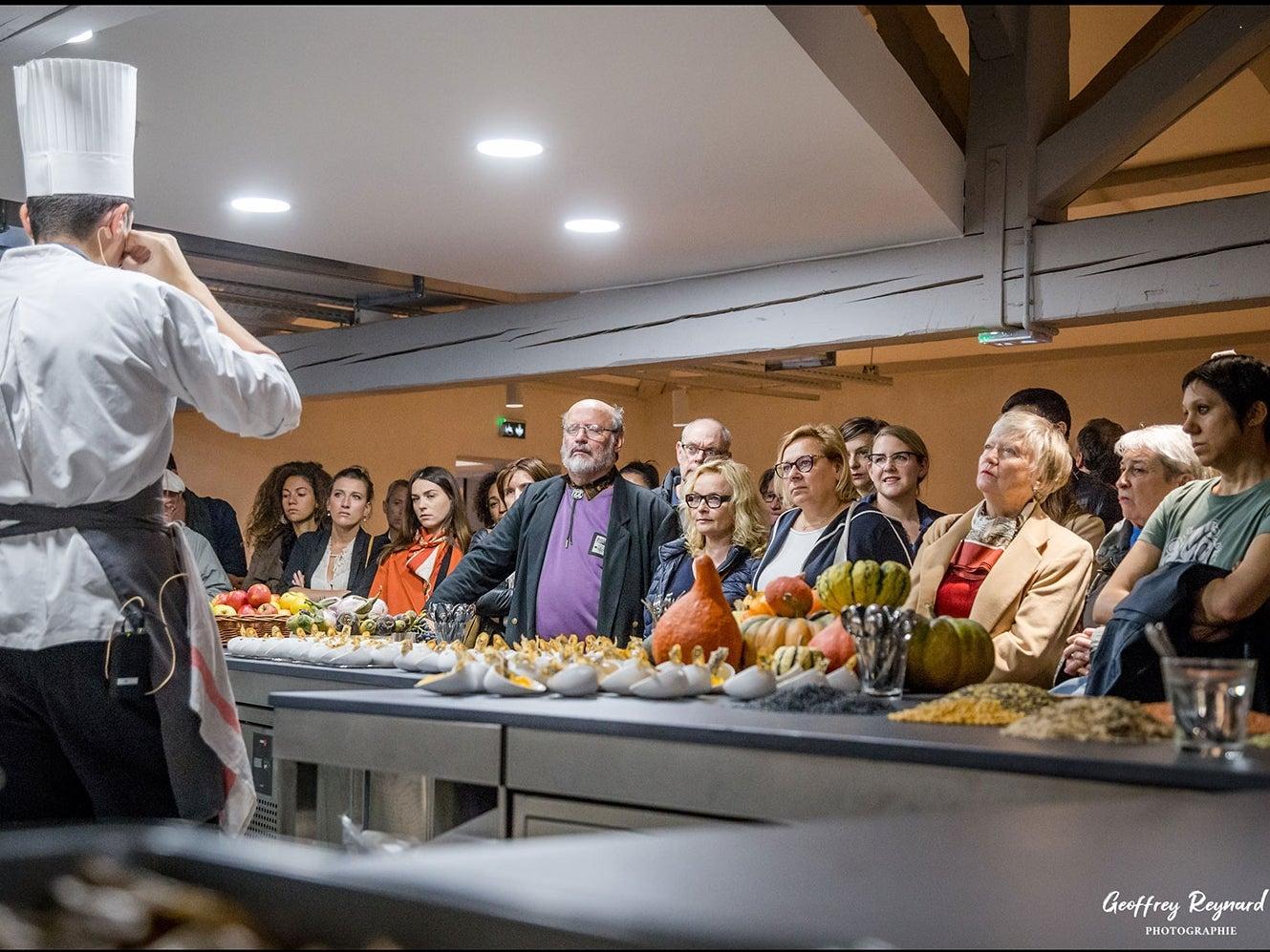 Chef gives presentation at the Cité Internationale de la Gastonomie in Lyon this fall.