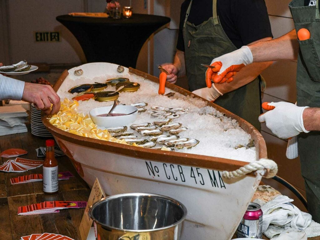 Island Creek Oysters of Duxbury, Massachusetts, manned the raw bar with a sampling of fresh oysters and caviar.