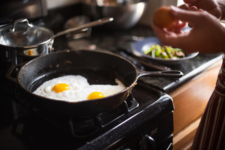 Eggs in a frying pan