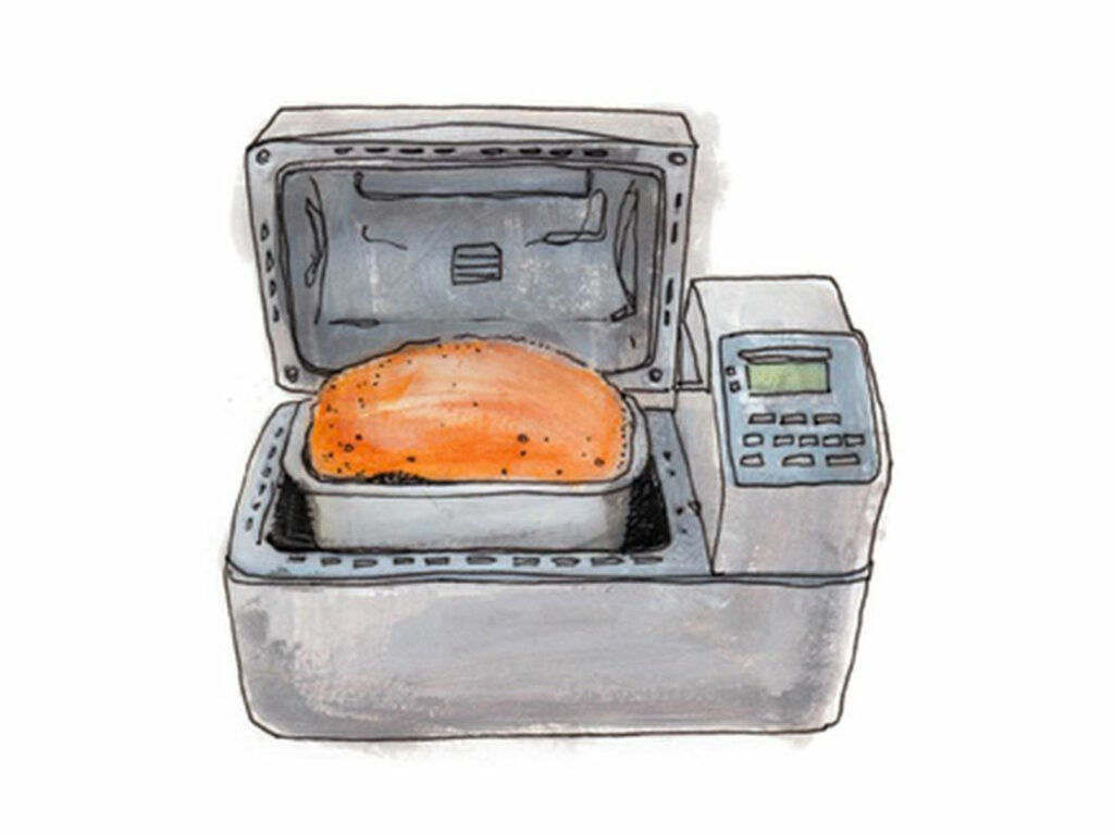1986 The Japanese company Matsushita invents the bread machine, a tabletop appliance that combines mixing, proofing, and baking.