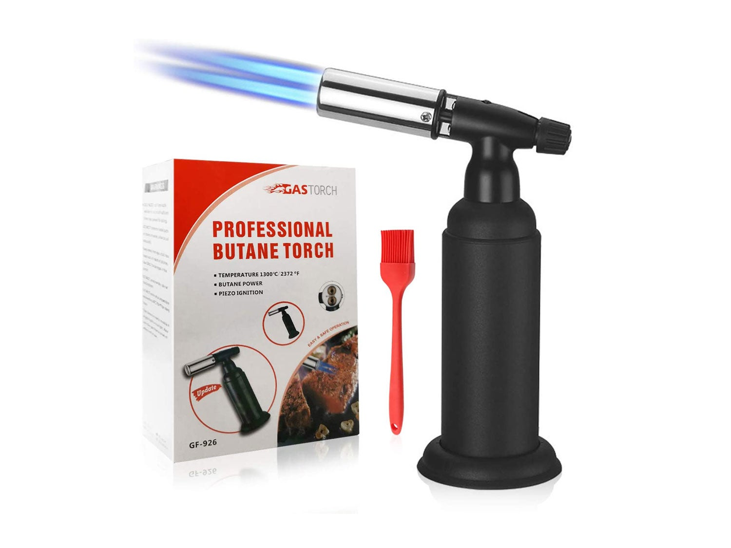 The perseids Blow Torch, Double Flame Culinary Torch Refillable Cooking Butane Torch Lighter with Adjustable Flame for BBQ, Crème Brûlée, Desserts, Baking, and Grilling, Butane Gas Not Included