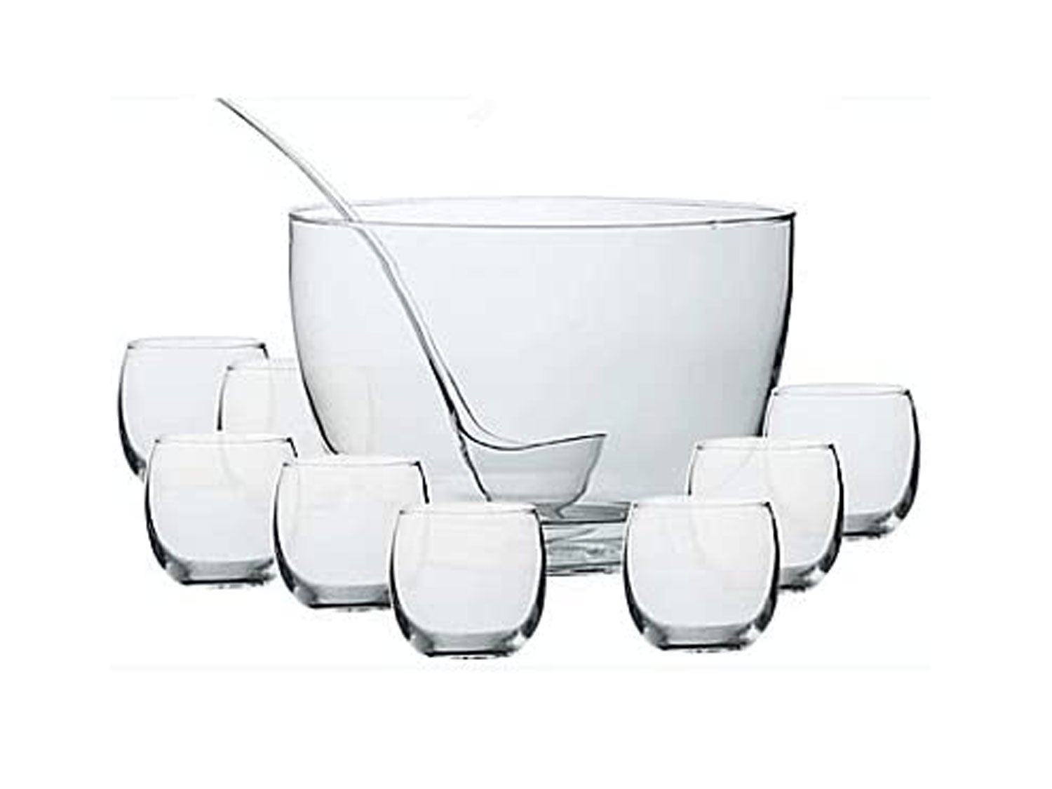 Intent 10-Piece Punch Bowl Set with Laddle, 10.5 Qt. Punch Bowl and 11 Oz. Glasses by Dailyware