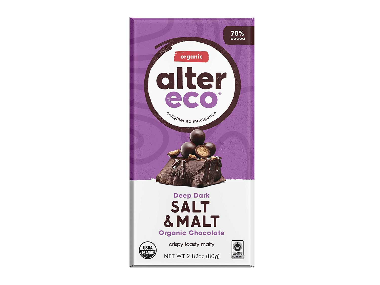 Alter Eco | Dark Salt & Malt | 70% Pure Dark Cocoa, Fair Trade, Organic, Non-GMO, Gluten-Free Dark Chocolate Bar, Single Bar