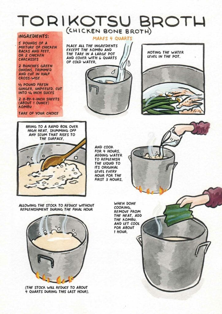 Photo courtesy of Let's Make Ramen! A Comic Book Cookbook by chef Hugh Amano and illustrator Sarah Becan.