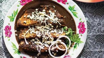 Enmoladas with Oaxacan Black Mole Sauce (Mole Negro)