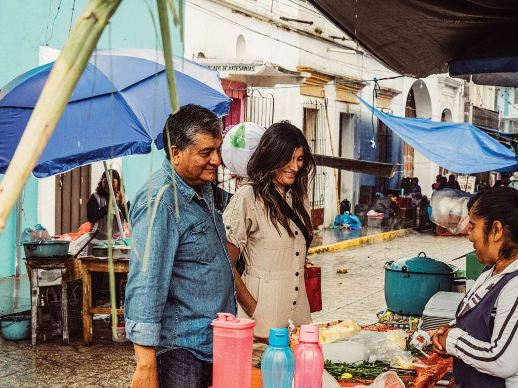 Lopez and her father, Fernando, at Mercado de Tlacolula.