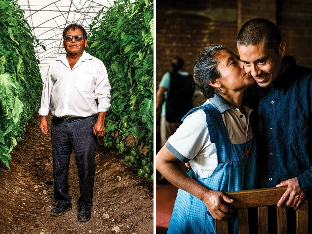 Tomato grower José Melchor Pérez founded a farm partnership that employs more than 800 locals; Elvia León Hernández (left) and her son Jorge León run the eatery Alfonsina out of their home's kitchen.