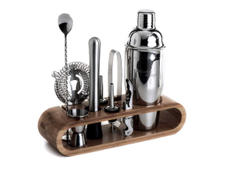 Mixology Bartender Kit: 10-Piece Bar Tool Set with Stylish Bamboo Stand
