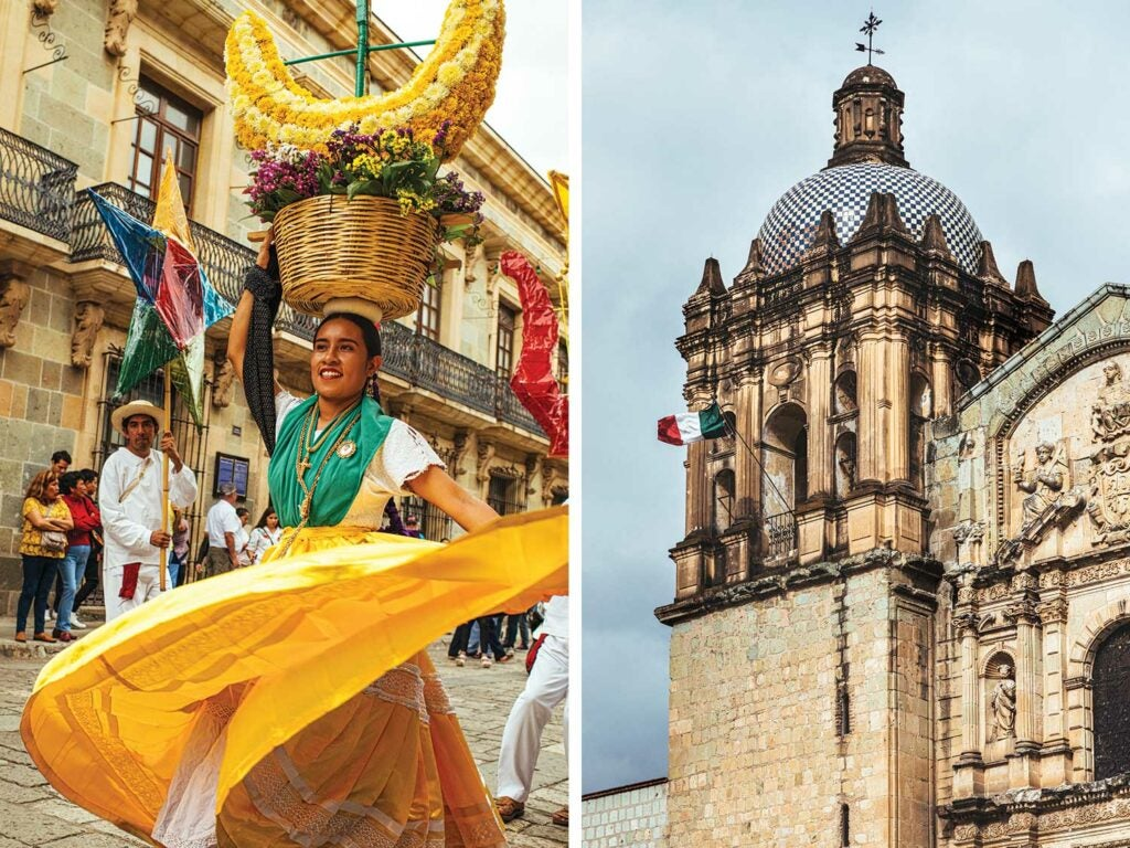 Parades in Oaxaca and the Church of Santo Domingo de Guzmán in Oaxaca de Juárez.