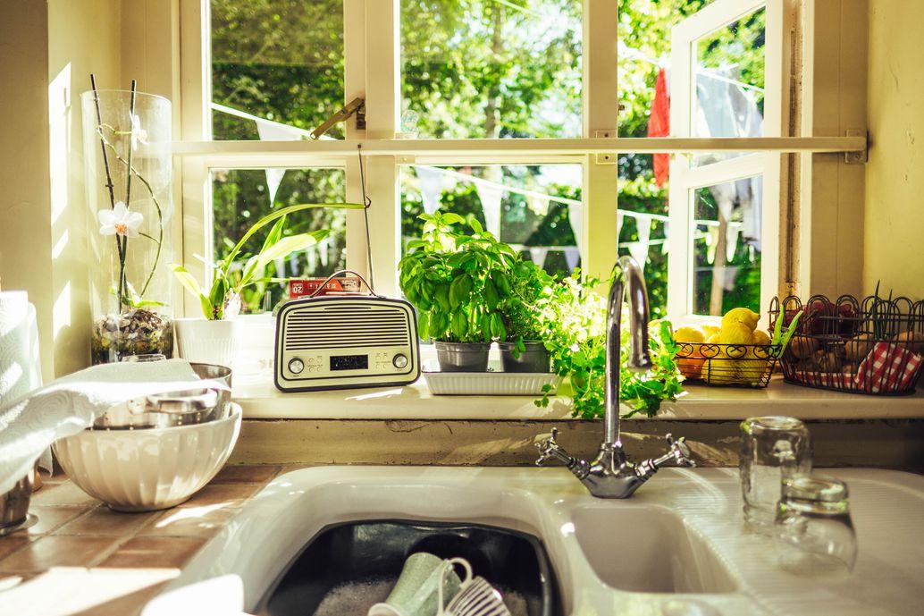Radio in a kitchen