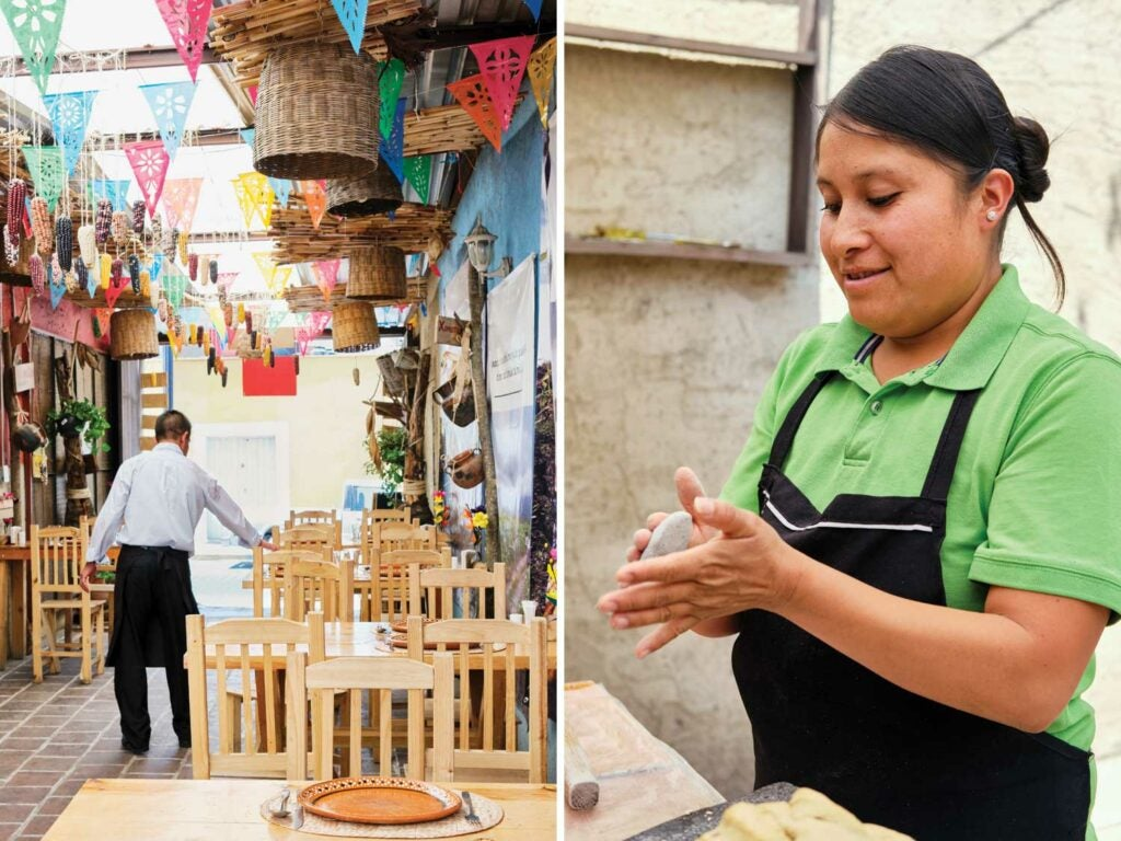 From Left to Right: Waiter Benjamin Telléz sets up for service at Milli; Gabriella Hernández makes fresh tortillas.