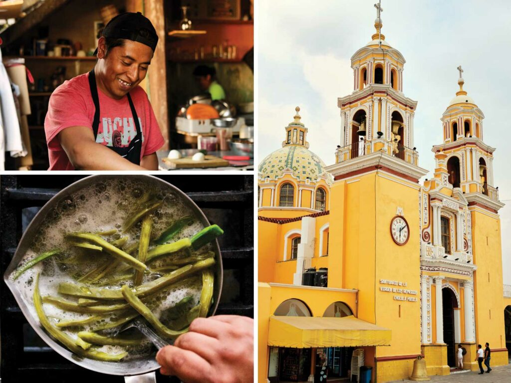 Clockwise from top left: Ricardo Peréz preps food in the Milli kitchen; the iconic Iglesia de Nuestra Señora de las Remedios sits atop the Tlachihualtepetl pyramid; boiling nopales at Milli.