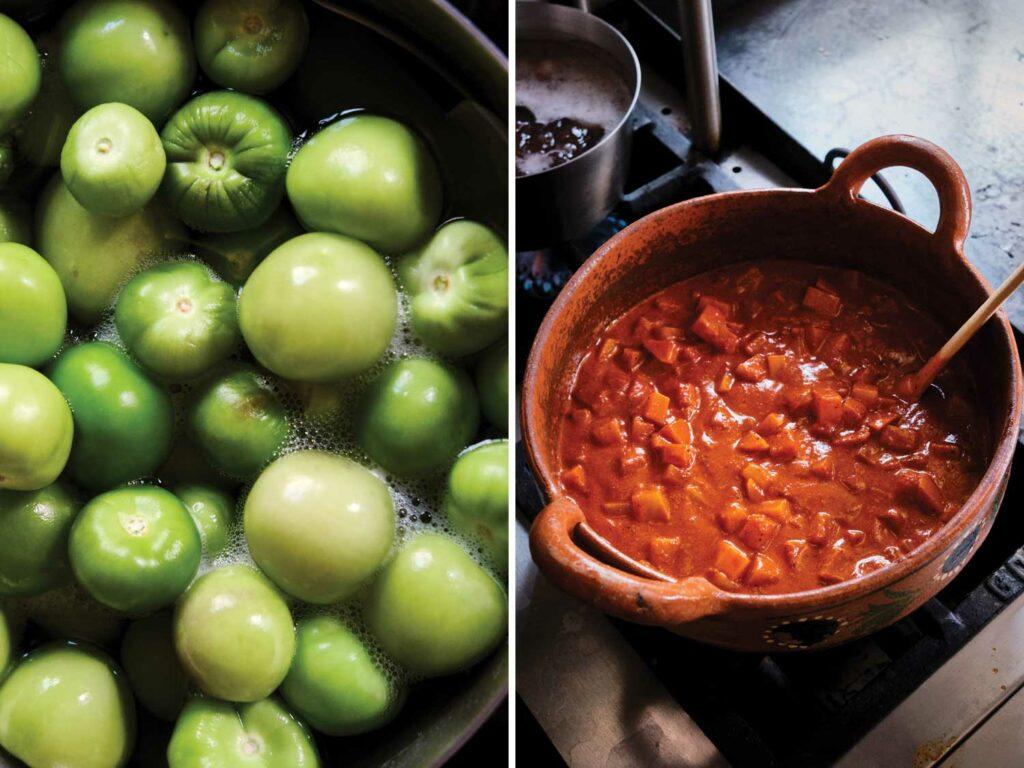 Tomatillos destined for green salsa; a ceramic pot of mole.