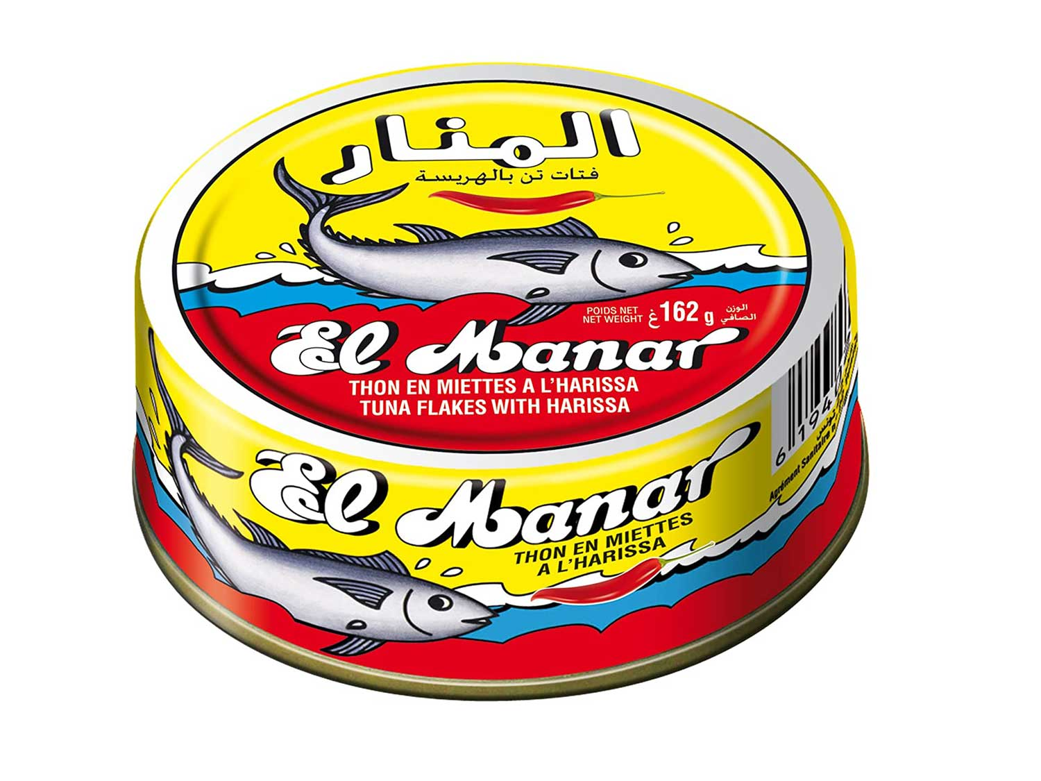 Light Tuna Flakes with Harissa - Canned Spicy Tuna Fish in Harissa Oil, from El Manar - 10-Pack of 160g Cans