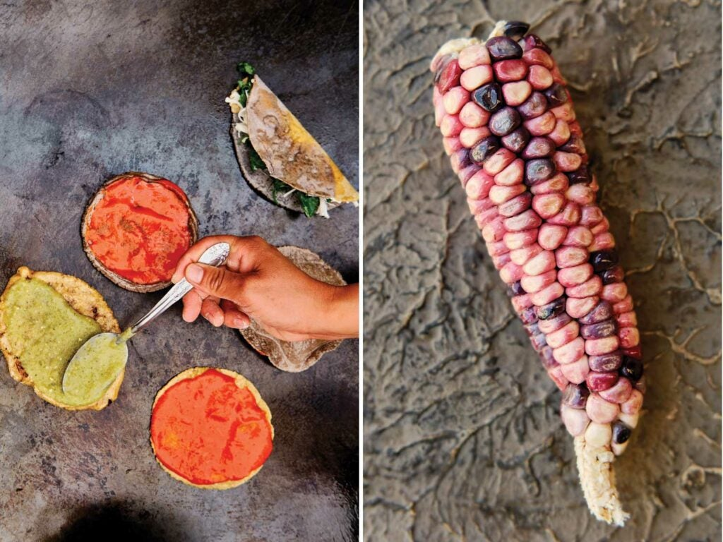 Chalupas receive a smear of green and red salsas; rose-tinged heirloom maiz, or corn, will become fresh masa.