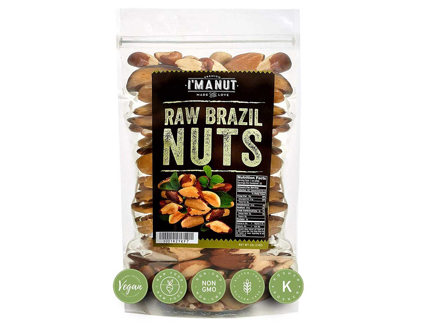 Raw Brazil Nuts 32oz (2 Pounds) Superior to Organic, No PPO, Probiotic, Large, Fresh and Resealable bag