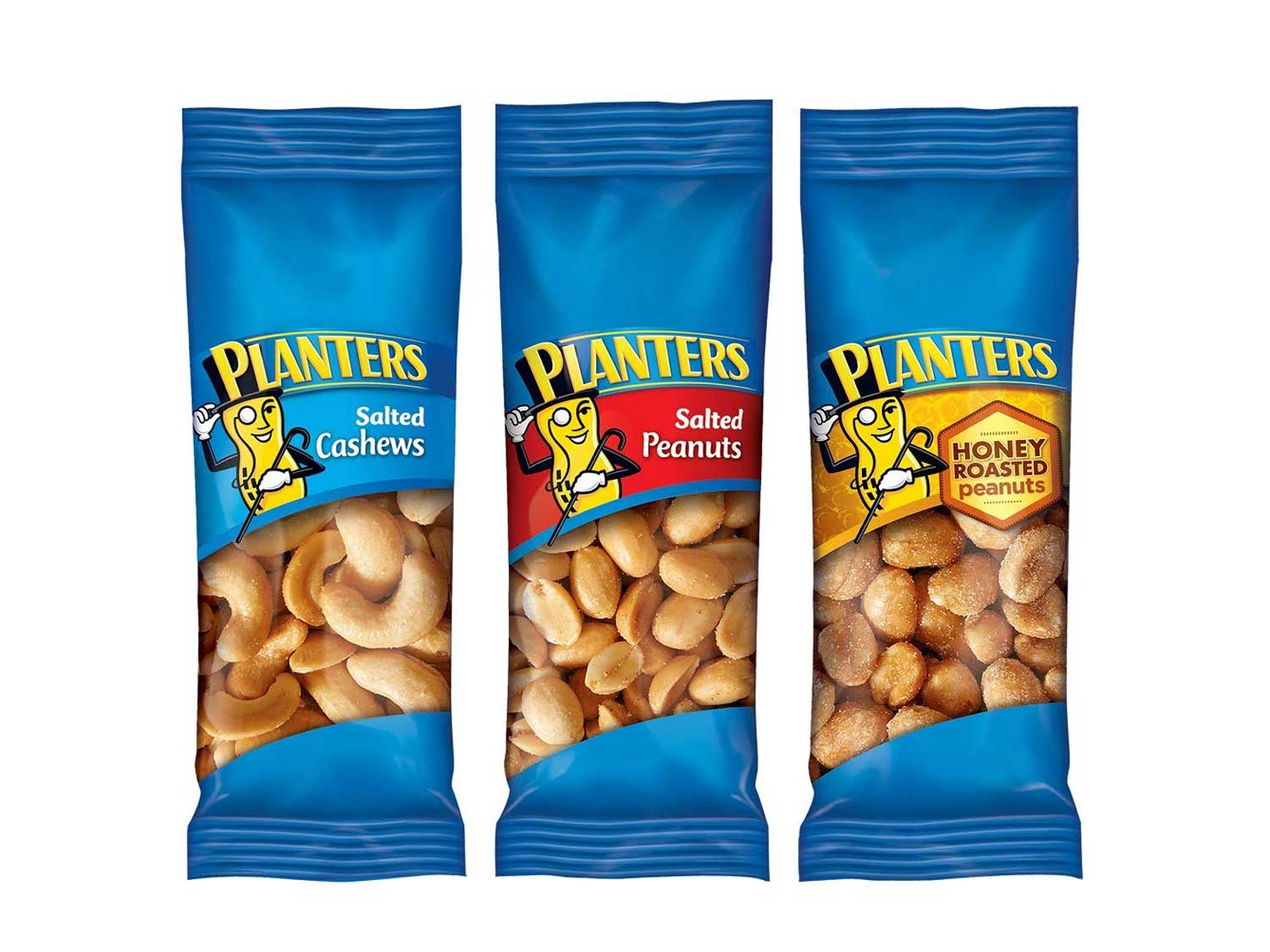 PLANTERS Variety Packs (Salted Cashews, Salted Peanuts & Honey Roasted Peanuts), 36 Packs   Individual Bags of On-the-Go Nut Snacks   No Cholesterol or Trans Fats   Source of Fiber and Healthy Fats