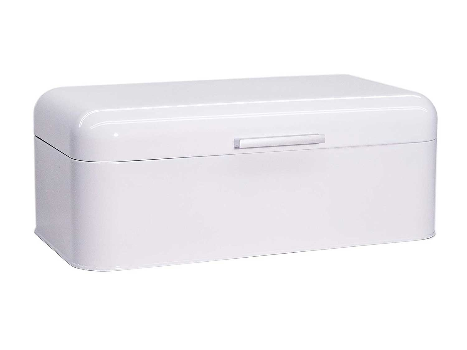 Large Glossy White Bread Box - Extra Large Storage Container for Loaves, Bagels, Chips & More: 16.5