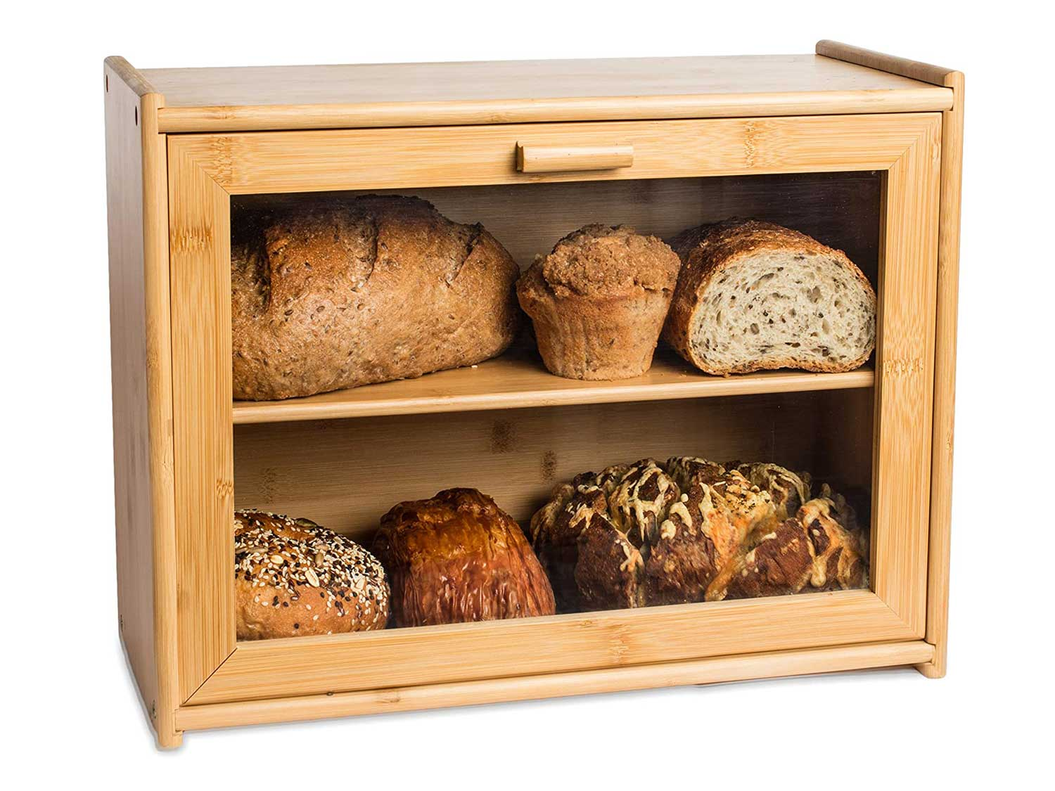 LAURA'S GREEN KITCHEN Large Double Layer Bread Box: Bamboo BreadBox w/Clear Window-Farmhouse Style Bread Holder for Kitchen Countertop - Rustic Bread Storage Bin Holds 2 Loaves (Self-Assembly)