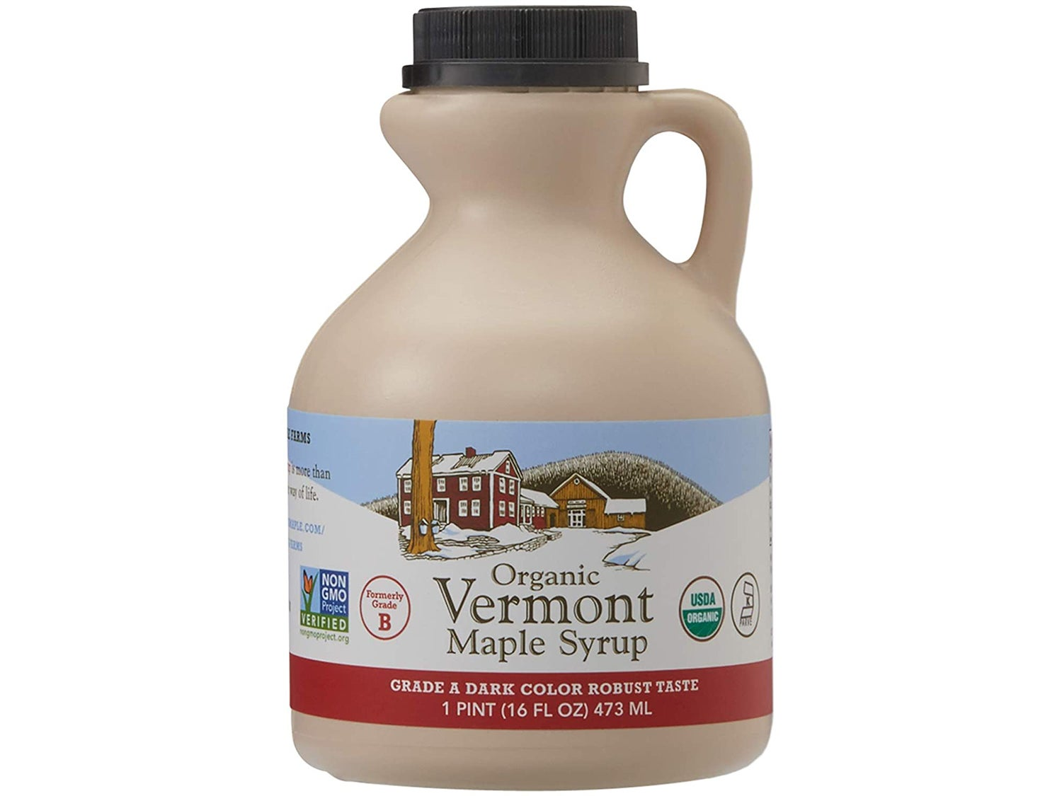 Hidden Springs Maple Organic Vermont Maple Syrup, Grade A Dark Robust (Formerly Grade B), 16 Ounce, 1 Pint, Family Farms, BPA-free Jug