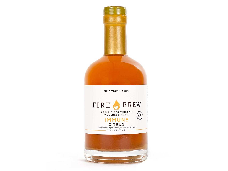 Fire Brew Apple Cider Vinegar based Citrus Immune Wellness Tonic, 12.7oz (25 shots)
