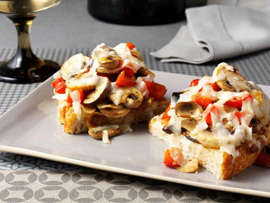 Bruschetta with Skillet Seared Mushrooms and Grana Padano